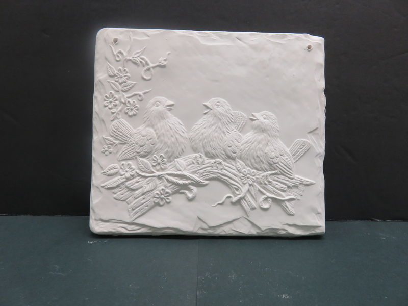 Birdie Plaque from Riverview Ceramics Bisque Ready to Paint - product images