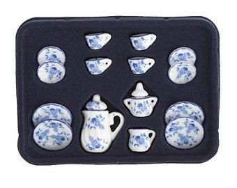Timeless,Minis™,Tea,Set,-,Ceramic,Blue,and,White,17,pieces,My Miniature World Shop,china set, country kitchen, Dining room, dishes, doll house, dollhouse, dollhouse miniatures, miniatures, my miniature world shop, table setting, Tea set, timeless minis