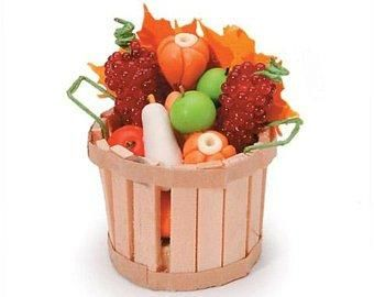 Miniature,-,Fall,Basket,with,Fruit,&,Vegetables,1,inch,set,My Miniature World Shop,doll house miniature,country kitchen, country store, doll house, dollhouse, dollhouse miniatures, food, garden, general store accessories, miniatures, my miniature world shop