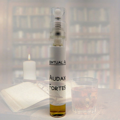 Audax,Fortes,natural,cologne,mini,spray,natural perfume, botanical perfume, esscentual alchemy, indie fragrance, artisan perfume, bath and body, beauty, eau de cologne, cologne spray, men scent, cologne for men, sample spray, leather, castoreum, civet, hops tobacco, pink pepper, labdanum, clove