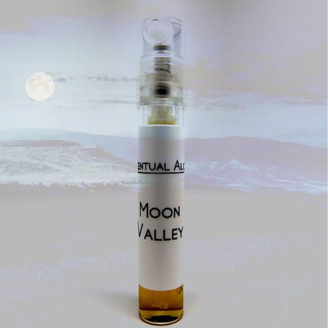 Moon,Valley,natural,perfume,mini,spray,natural perfume, botanical perfume, esscentual alchemy, indie fragrance, artisan perfume, bath and body, beauty, perfume samples, floral, spray vial, vetiver, oakmoss, hyrax, orris, jasmine, lilac, tuberose, carnation, peach, cedar, heliotrope