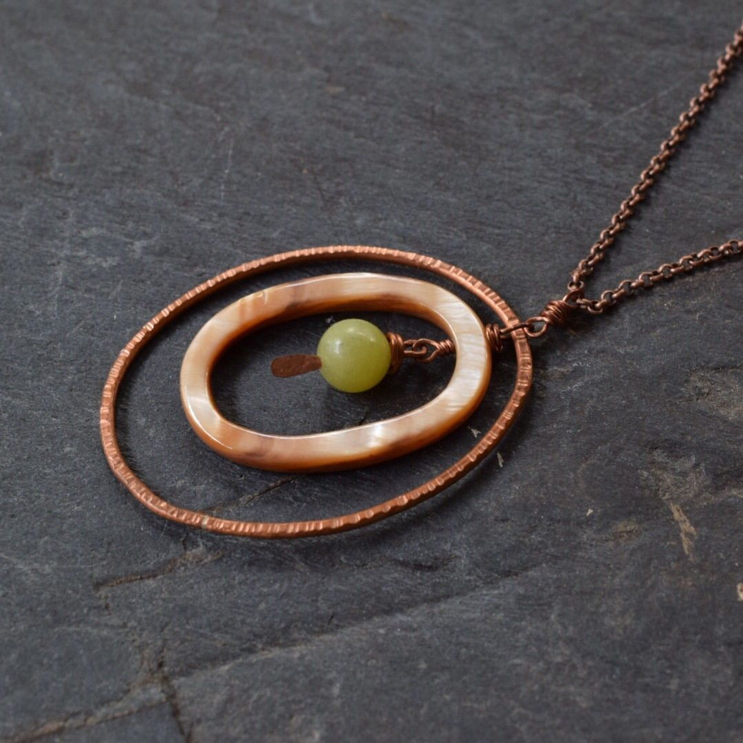 Oval copper and jade pendant - product images  of
