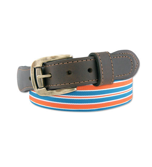 Striped Orange & Blue Men's Belt - product images  of