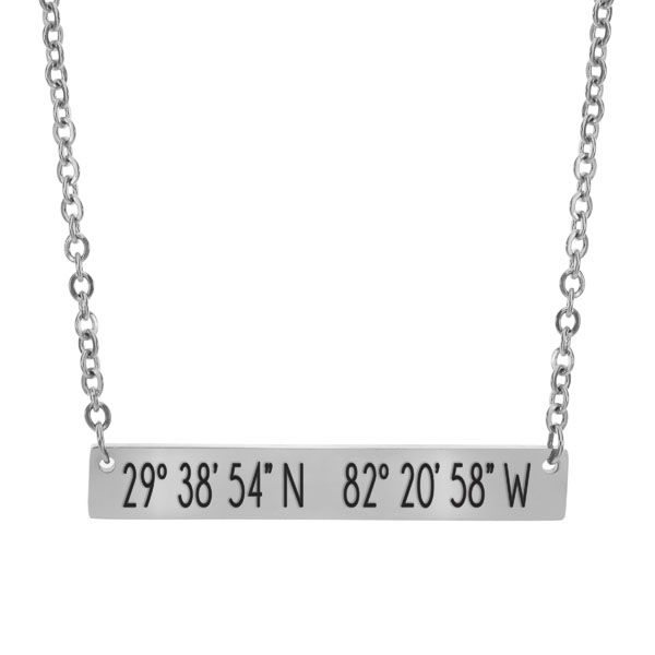 Coordinates Bar Necklace - Gainesville, FL - product image