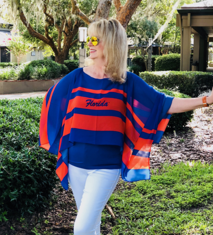 Orange/Blue,Stripes,Poncho,Orange/Blue Stripes Poncho