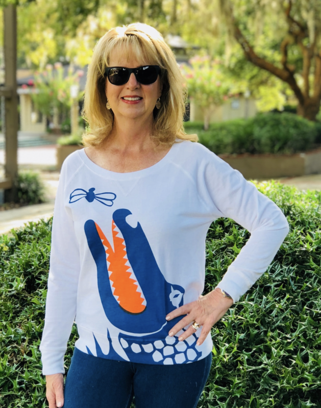 White/Blue Gator Top - product image