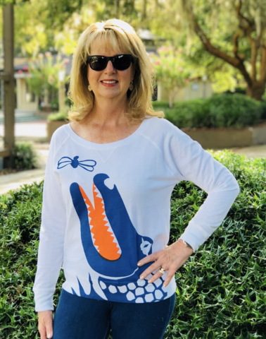 White/Blue,Gator,Top,Bell Top