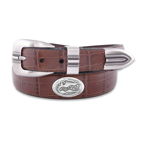 Leather,Gator,Belt,/,Silver,Logo,Gator Belt