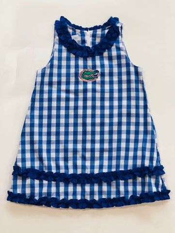 Blue,Checkerboard,Sleeveless,Dress,Blue Checkerboard Girls Bubble