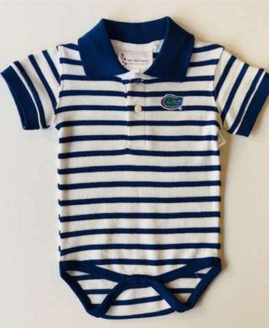 White/Blue,Collar,Striped,Onesie,Kids Apparel