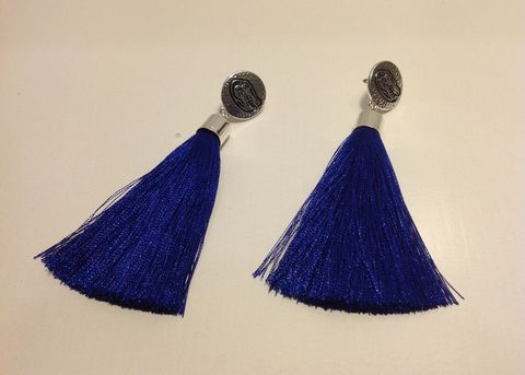 Blue,Tassel,Earrings,Blue Tassel Necklace
