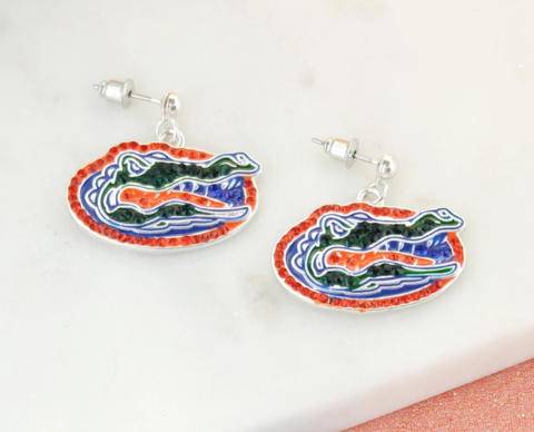Florida,Gator,Crystal,Logo,Earrings,Florida Gator Crystal Earrings
