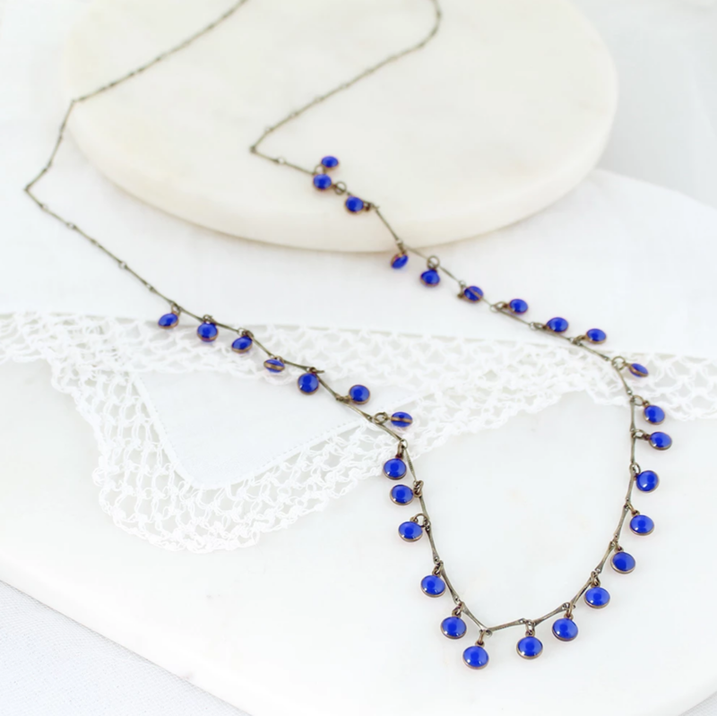 Vintage Enamel Dot Necklace - Blue - product images  of