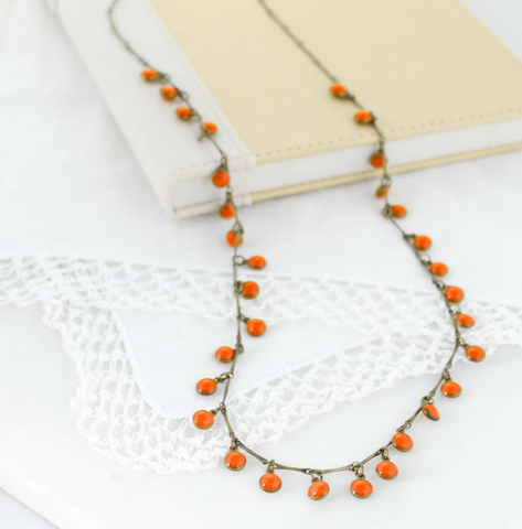 Vintage,Enamel,Dot,Necklace,-,Orange,Vintage Enamel Dot Necklace - Orange