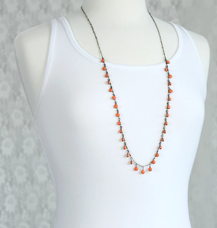 Vintage Enamel Dot Necklace - Orange - product images  of