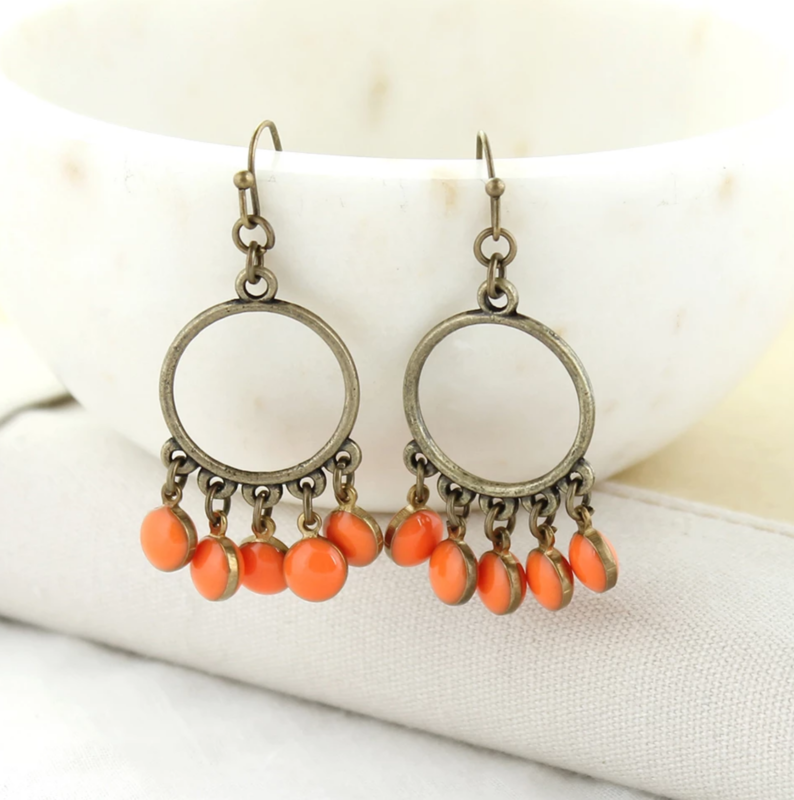 Vintage Enamel Dot Earrings - Orange - product image