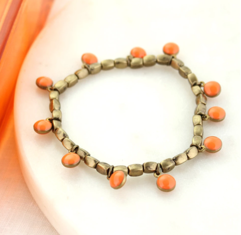 Vintage,Enamel,Dot,Stretch,Bracelet,-,Orange,Vintage Enamel Dot Stretch Bracelet - Orange
