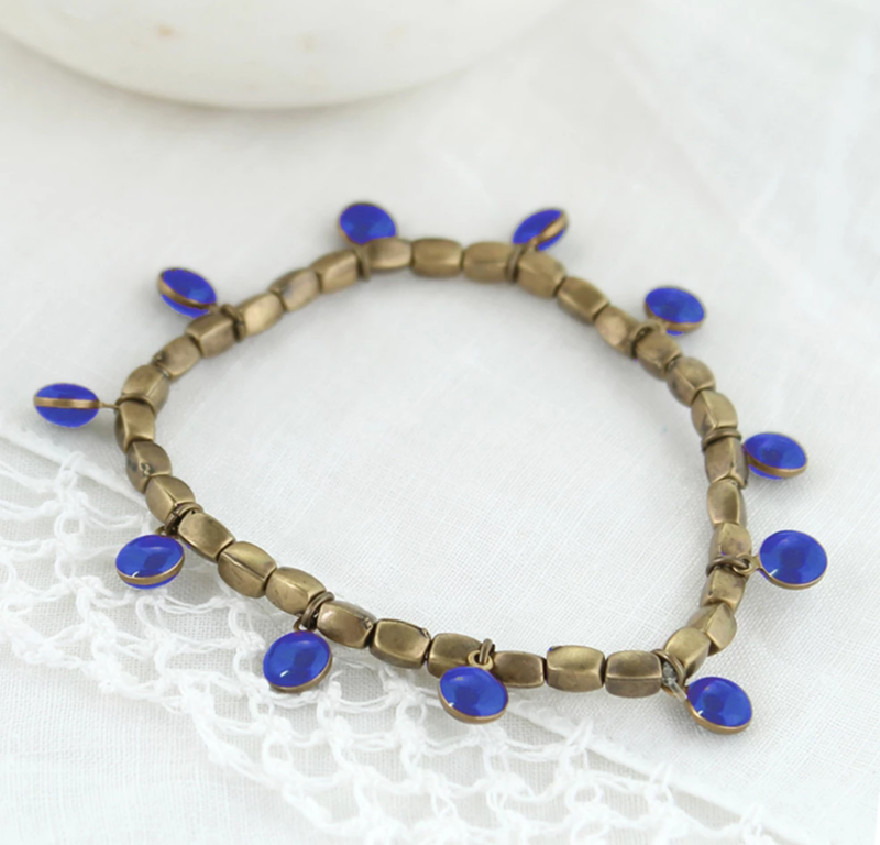 Vintage Enamel Dot Stretch Bracelet - Blue - product image