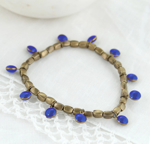 Vintage,Enamel,Dot,Stretch,Bracelet,-,Blue,Vintage Enamel Dot Stretch Bracelet - Blue