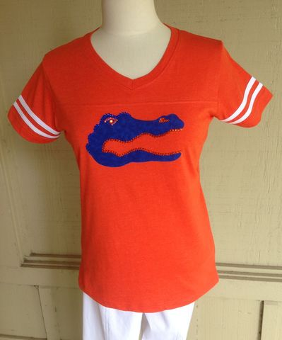 Orange,Gator,Logo,Top,-,Stripes,Orange Gator Logo Top - Stripes