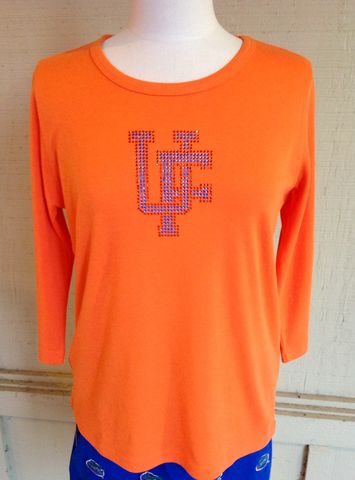 UF,Logo,Long,Sleeve,Orange,Top,UF Logo Long Sleeve Orange Top