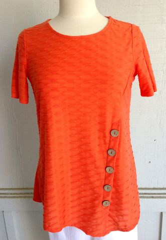 Orange,Button,Top,Orange Button Top