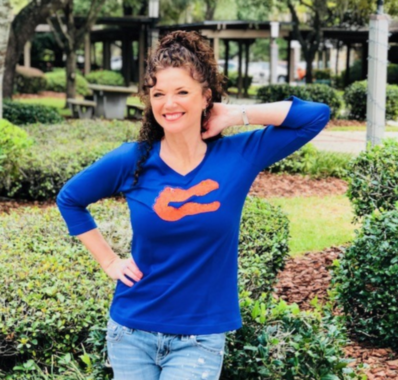3/4 Sleeve Blue Top (Orange Gator) - product images  of