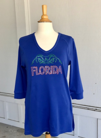Gator,Swamp,Eyes,3/4,Sleeve,Top,Gator Swamp Eyes Top