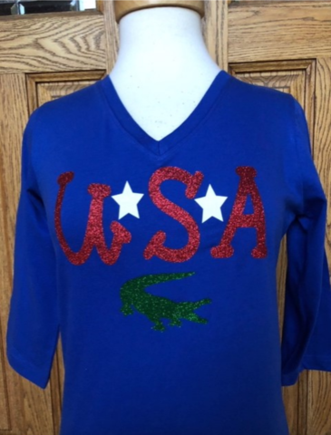 Gators,USA,3/4,Sleeve,Top,Gators USA 3/4 Sleeve Top