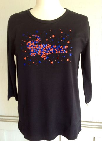 Star,Gator,Black,3/4,Sleeve,Top,Star Gator Black Top