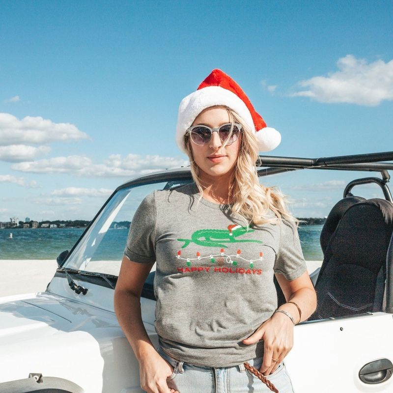 Surfing Santa Gator Tee - Gray - product images  of