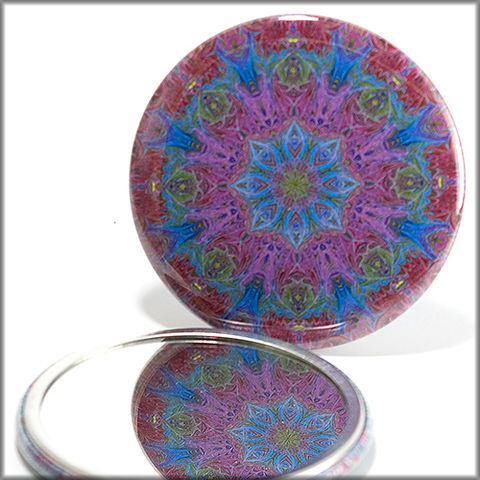 mandala,mirror,no.,2,Accessories,Mirror,pocket_mirror,women,blue,purple,pink,red,green,handpressed,glass_mirror,miniature,kaleidoscope,purse_mirror