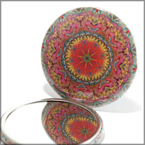 mandala,mirror,no.,7,Accessories,Mirror,pocket_mirror,women,pink,blue,yellow,green,handpressed,glass_mirror,miniature,kaleidoscope,romantic,garden