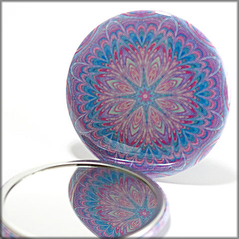 mandala,mirror,no.,8,Accessories,Mirror,accessories,pocket_mirror,handpressed,glass_mirror,miniature,kaleidoscope,stocking_stuffer,purple,pink,turquoise,blue