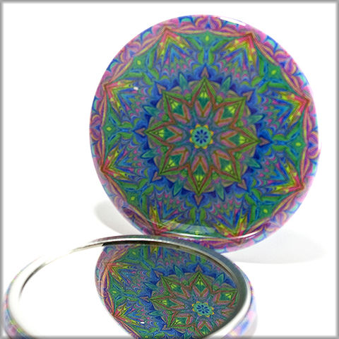 mandala,mirror,no.,11,Accessories,Mirror,pocket_mirror,mandala_mirror,handpressed,glass_mirror,miniature,kaleidoscope,stocking_stuffer,rainbow,floral,bright,zen