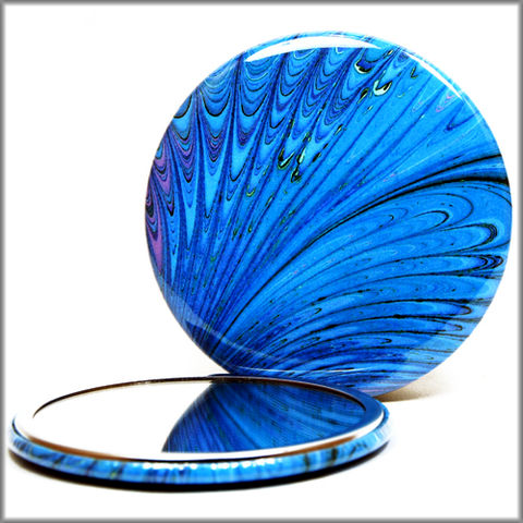 marbled,paper,mirror,no.,5,pocket_mirror,handpressed_glass_mirror,marbled_paper,purse_mirror,art_mirror,round_mirror,blue_feather,bridesmaid_gift,party_favor,small_gift