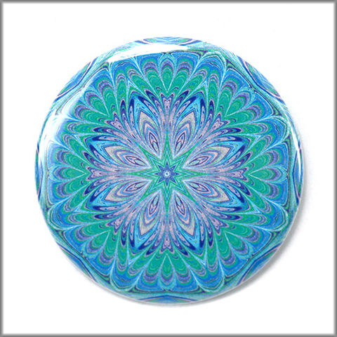 mandala,magnet,no.,4,mandala_magnet,refrigerator_magnet,office_decor,functional_art,kaleidoscope,geometric,blue,green,art_magnet,round_magnet,small_gift
