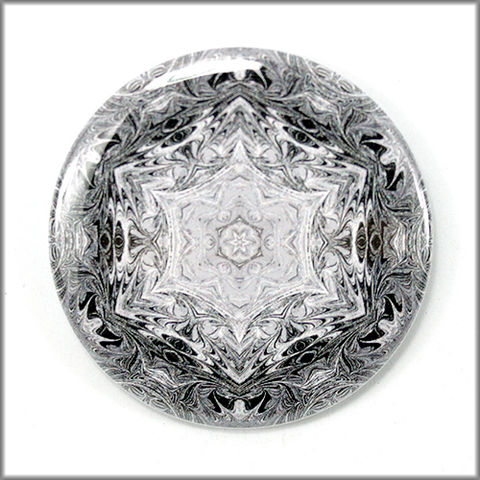 mandala,magnet,no.,6,refrigerator_magnet,office_decor,functional_art,kaleidoscope,snowflake,black and white