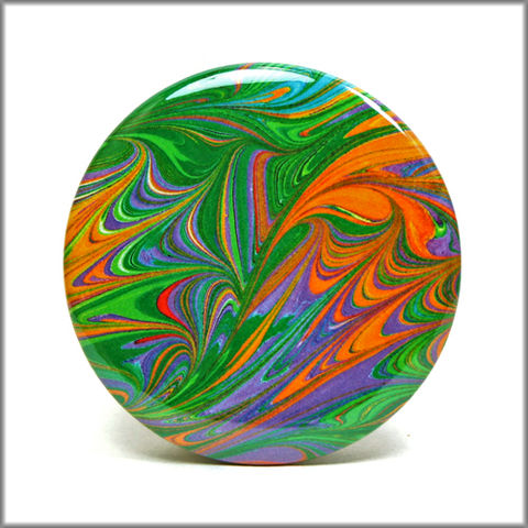 marbled,paper,magnet,no.,3,marbled_paper,functional_art,kitchen_magnet,refrigerator_magnet,green and orange