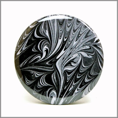 marbled,paper,magnet,no.,6,marbled_paper,functional_art,kitchen_magnet,refrigerator_magnet,black and white, marbled magnet