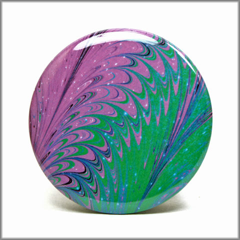 marbled,paper,magnet,no.,8,marbled_paper,functional_art,kitchen_magnet,refrigerator_magnet,purple and green magnet