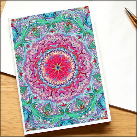marbled,kaleidoscope,notebook,no.,9,small notebook,mini journal,marbled paper,eco friendly