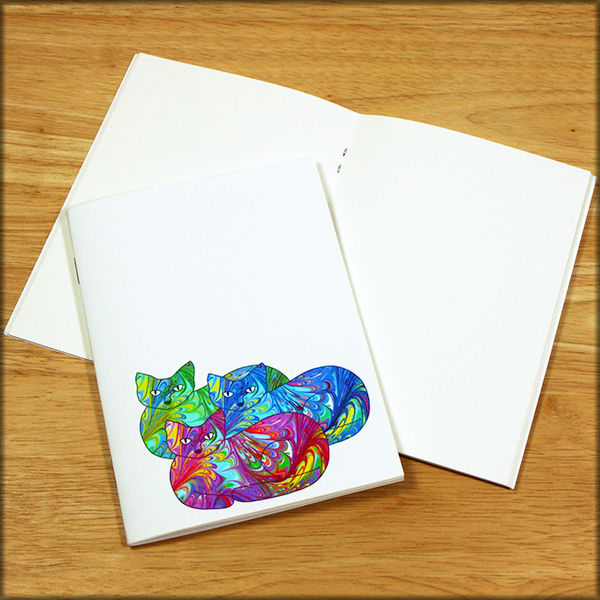 Rainbow Cat Trio Marbled Paper Notebook - product images  of