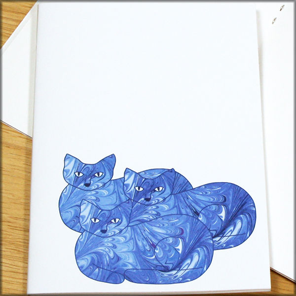 Blue Cat Trio Marbled Paper Notebook - product images  of