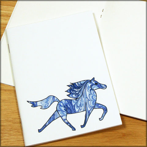 Blue,Horse,Marbled,Paper,Notebook,horse notebook, marbled paper notebook, marbled horse, small notebook, mini notebook, travel notebook, travel journal, diary, horse journal, pony notebook