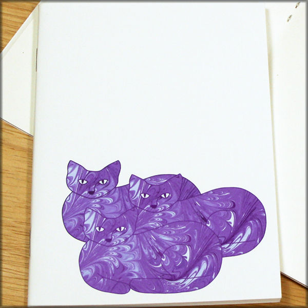 Purple Cat Trio Marbled Paper Notebook - product images  of