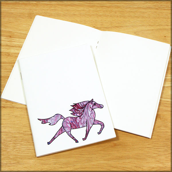 Purple Horse Marbled Paper Notebook - product images  of