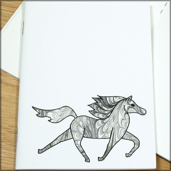 Black and White Horse Marbled Paper Notebook - product images  of