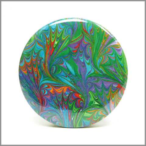 marbled,paper,magnet,no.,9,marbled_paper,functional_art,kitchen_magnet,refrigerator_magnet, turquoise magnet,orange magnet, red magent, green magnet, purple magnet, round magnet