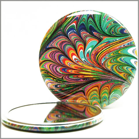 marbled,paper,mirror,no.,15,Glass,Mirror,Pocket,pocket_mirror,handpressed,glass_mirror,miniature,marbled_paper,marbling,purse_mirror,hand_pressed,small_mirror,art_mirror,multi-color pocket mirror,accessory